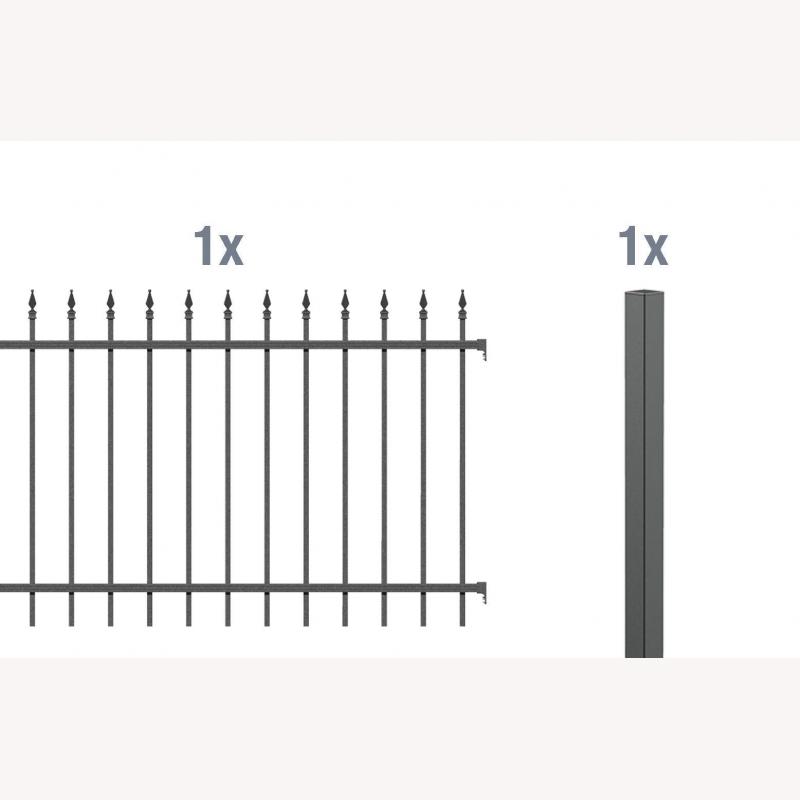 2 meter anbau set f r aluminium zaun chaussee 197 10. Black Bedroom Furniture Sets. Home Design Ideas